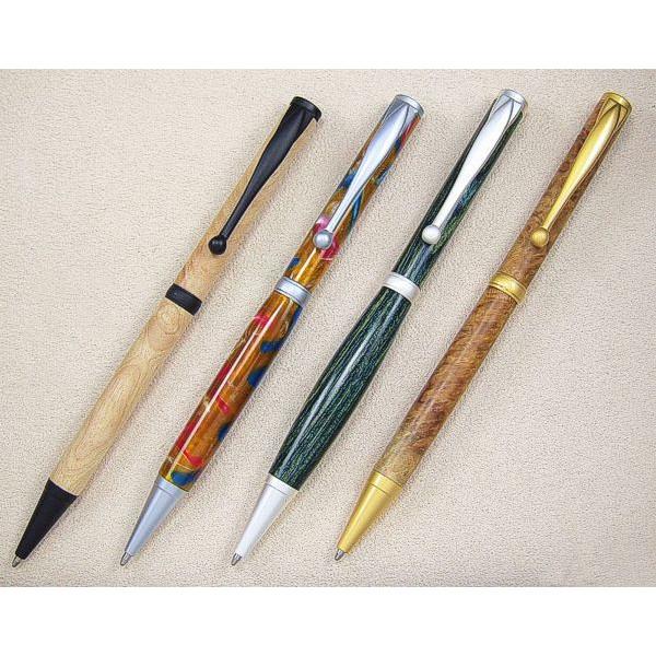 Farbübersicht v. l. n. r.: Black Enamel, satin-chrom, satin-silber, satin-gold
